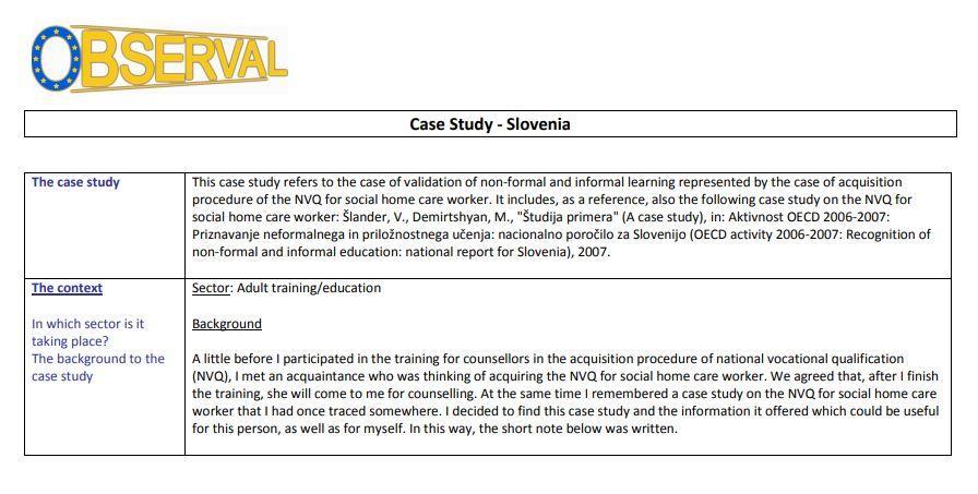 Slovenia - Case Study 3 2010 (VET) - Care Worker