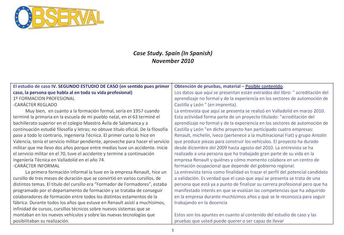Spain - Case Study 1B 2010 (Spanish)