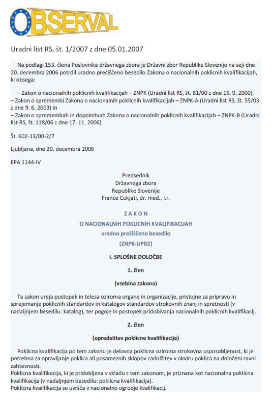Slovenia - National Vocational Qualification Act 2000 - Slovenian