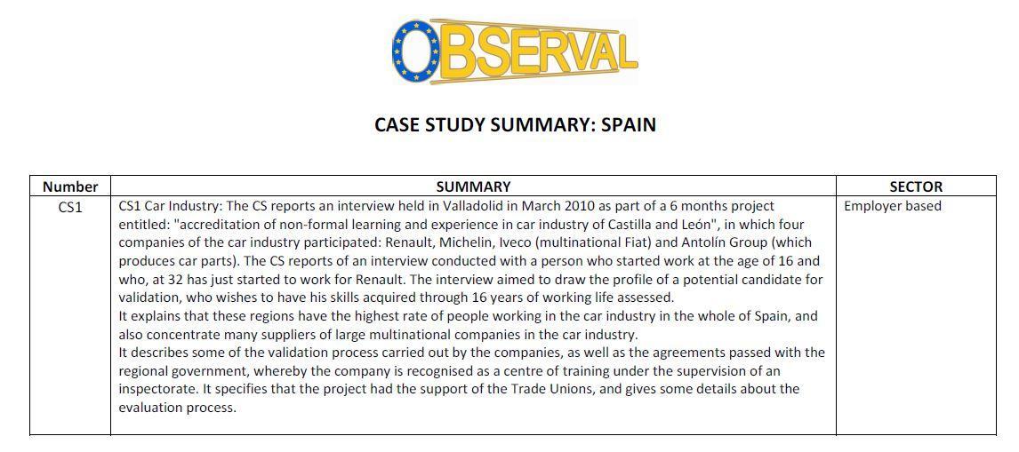 Spain - Summary of Case Studies
