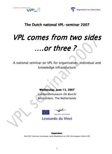 Netherlands - National Valuation of Prior Learning (VPL) - Seminar