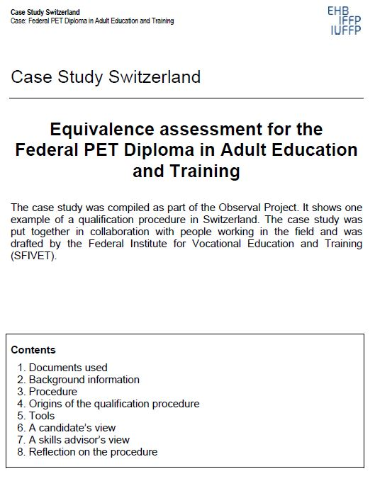 Switzerland - Case Study 3 2009 Equivalence assessment for the Federal PET Diploma in Adult Education and Training