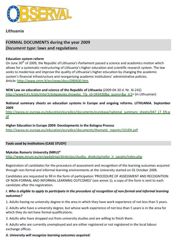 Lithuania- Formal Document 3 2009 - Laws & Regulations