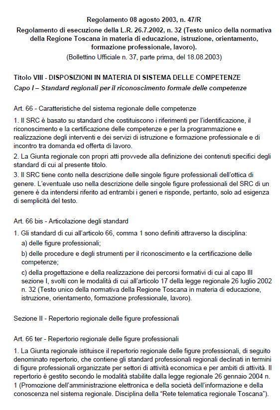 Italy - Toscana Regolamento 47-R (Italian)
