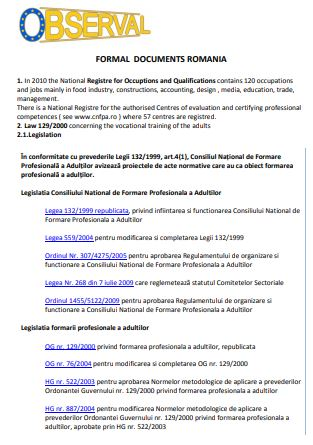 Romania - Formal Documents