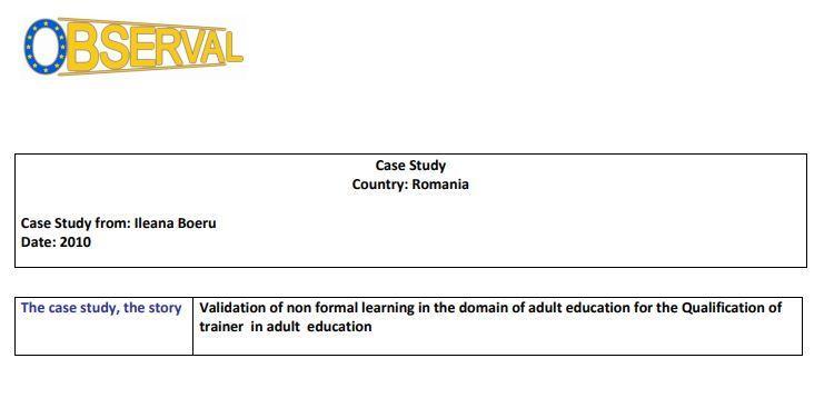 Romania - Case Study 2 2009 (VET AE,3rd Sector)