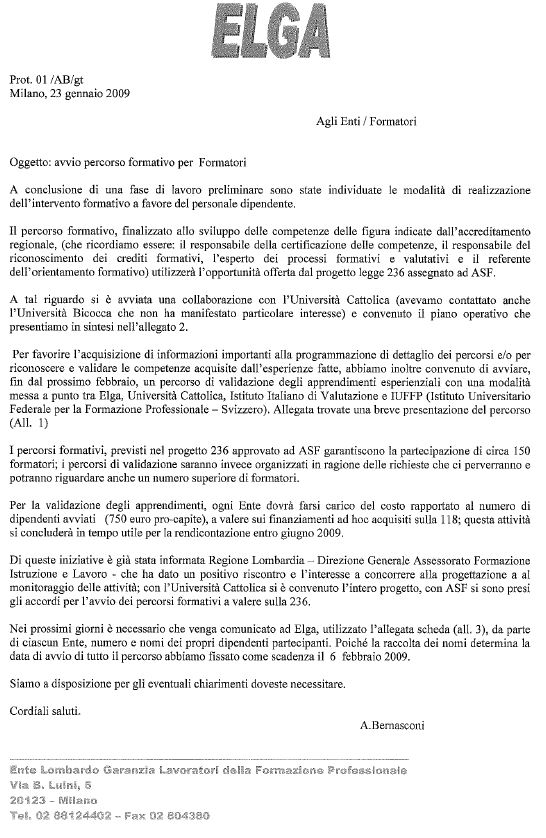 Italy - Formal Documents 11 - Progetto ELGA Lombardia