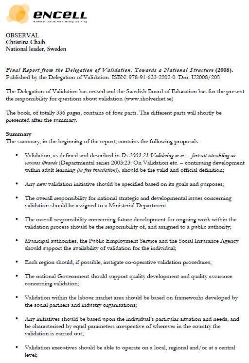 Sweden - Publication - Report from The Delegation of Validation