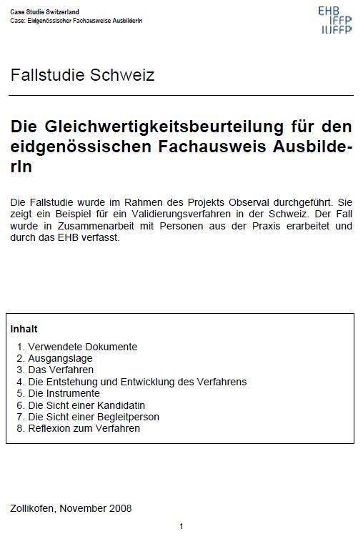 Switzerland - Case Study 3 2009 (AE, VET) (German)