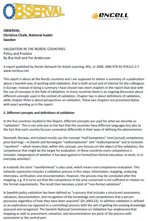 Sweden - Formal Documents 2 - Validation in the Nordic Countries