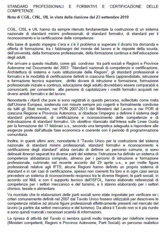 Italy - Formal Documents 9 - Nota di CGIL - CISL - UIL