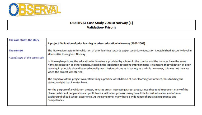 Norway - OBSERVAL Case Study 2 2010 Validation- Prisons