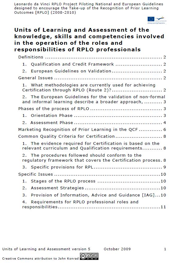 UK - Framework for the development of Units of Learning and Assessment 2009