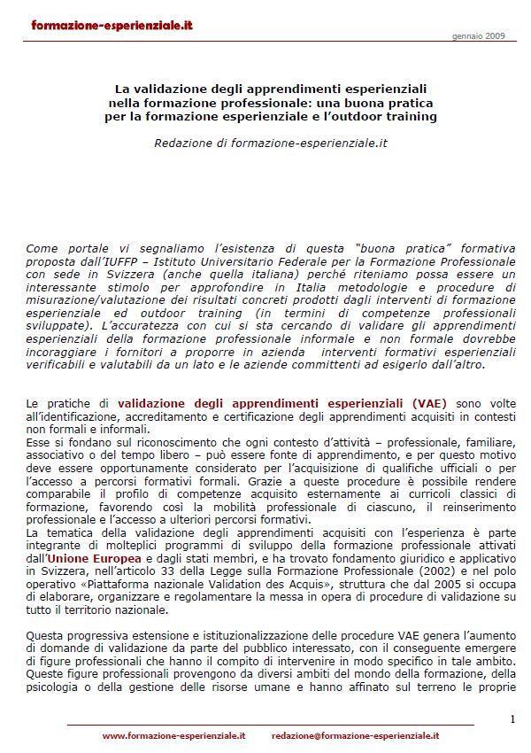 Italy - Report - VAE IUFFP