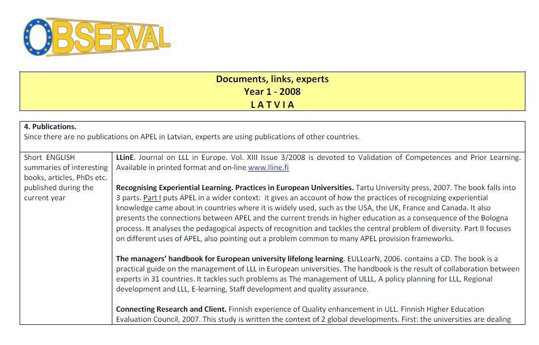 Latvia - Publications - Documents, links, experts