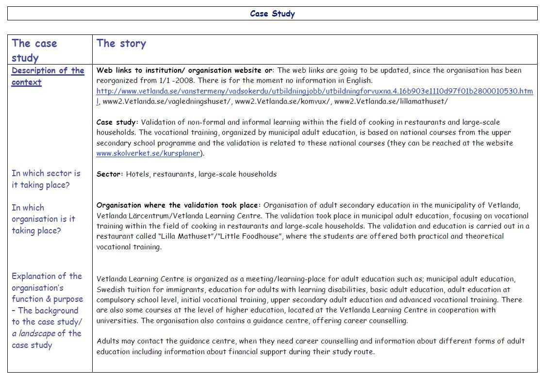 Sweden - Case Study 1 2008
