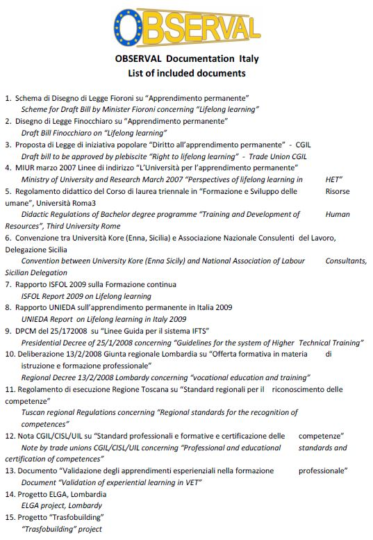 Italy - OBSERVAL Documentation, List of included documents