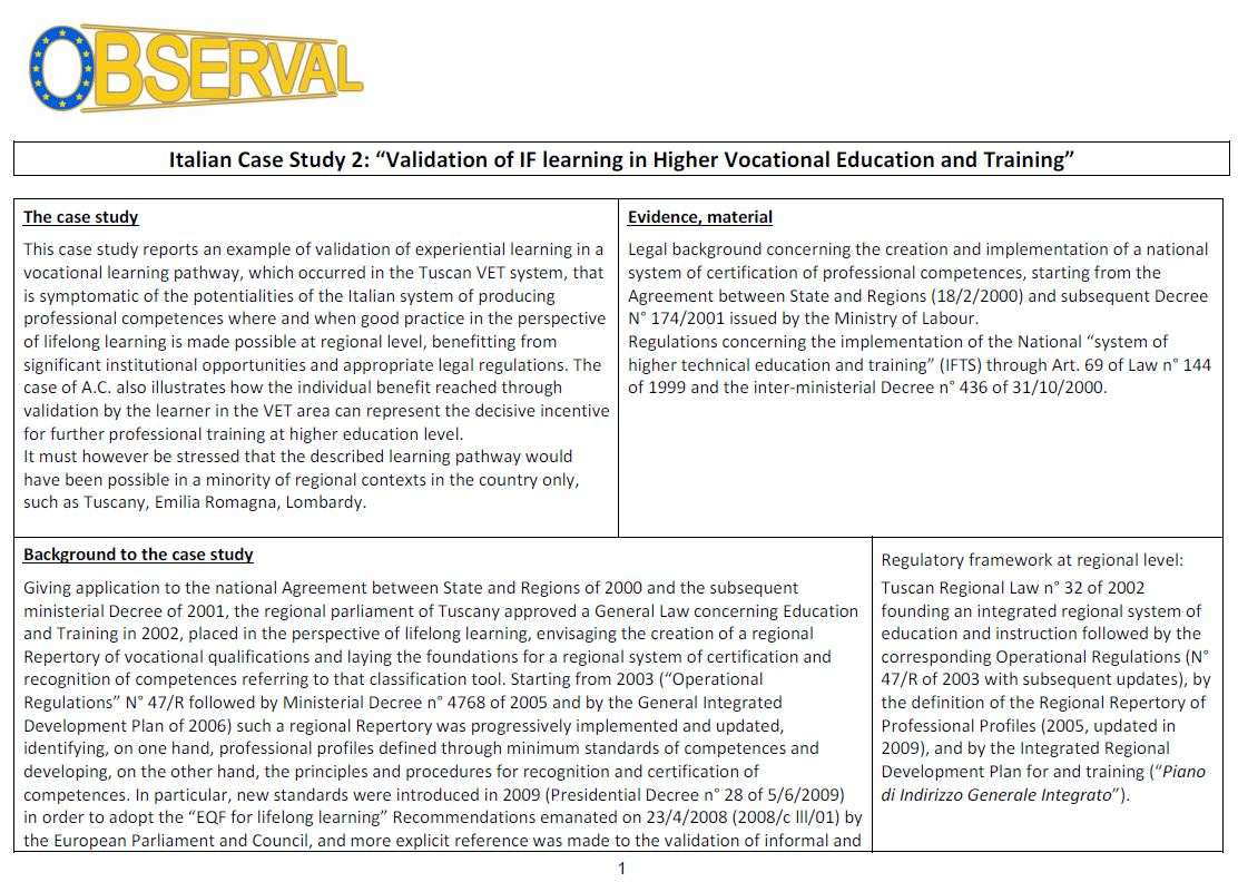 "Italy - Case Study 2: ""Validation of IF learning in Higher Vocational Education and Training"""