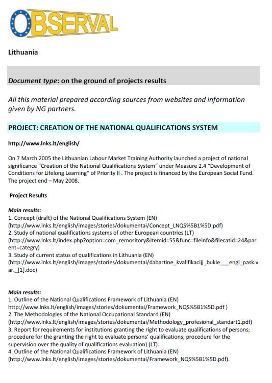 Lithuania - Formal Document 5 2008 - Creation of National Qualifications System