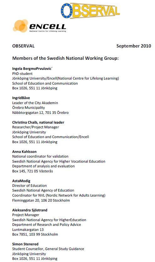 Sweden - National Working Group 2010