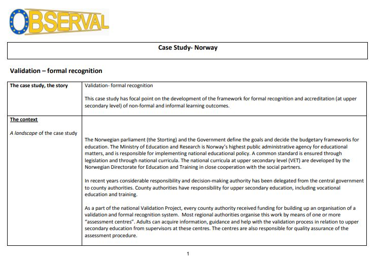 Norway - Case Study 1 2008 (AE,3rd sector) - Formal recognition