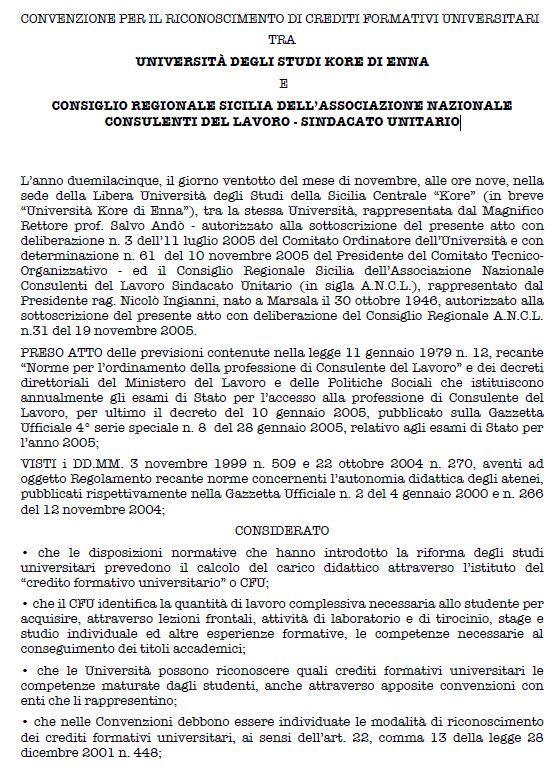 Italy - Formal Documents 6 - Convenzione per il crediti formativi universitari
