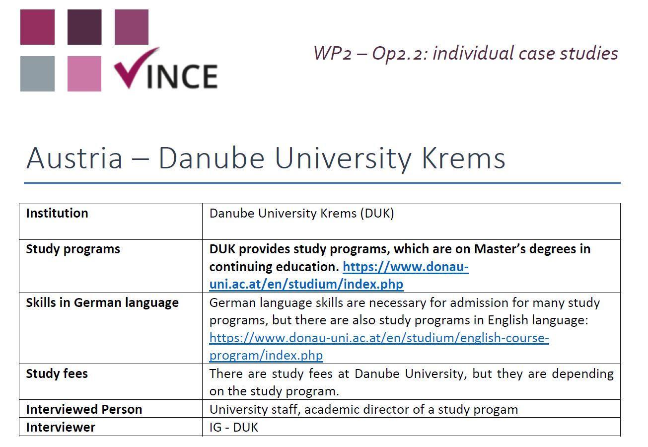 AT - Case Study 2 - Danube University Krems (DUK)