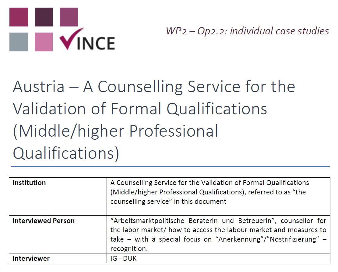 AT - Case Study 4 - A Counselling Service for the Validation of Formal Qualifications (Middle/higher Professional Qualifications)
