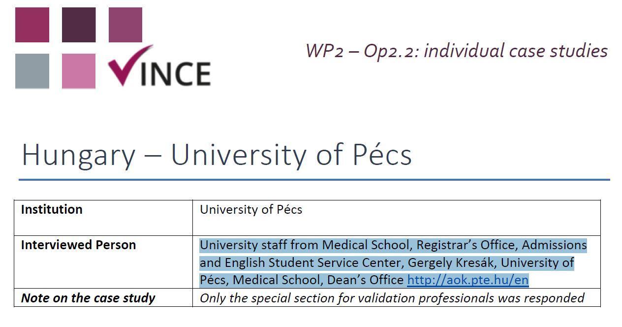 HU - Case Study 1 - University of Pécs